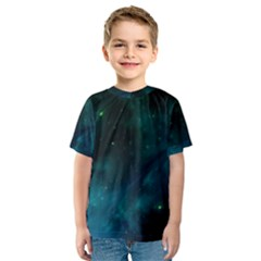 Green Space All Universe Cosmos Galaxy Kids  Sport Mesh Tee by Celenk