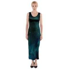 Green Space All Universe Cosmos Galaxy Fitted Maxi Dress