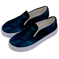Green Space All Universe Cosmos Galaxy Kids  Canvas Slip Ons by Celenk