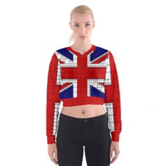 Union Jack Flag Uk Patriotic Cropped Sweatshirt