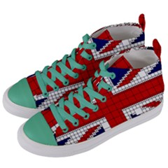 Union Jack Flag Uk Patriotic Women s Mid Top Canvas Sneakers by Celenk