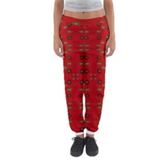 Brown Circle Pattern On Red Women s Jogger Sweatpants by BrightVibesDesign