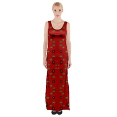 Brown Circle Pattern On Red Maxi Thigh Split Dress by BrightVibesDesign