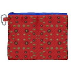 Brown Circle Pattern On Red Canvas Cosmetic Bag (xxl) by BrightVibesDesign