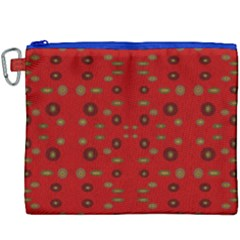 Brown Circle Pattern On Red Canvas Cosmetic Bag (xxxl) by BrightVibesDesign