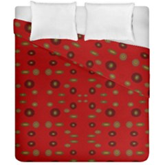 Brown Circle Pattern On Red Duvet Cover Double Side (california King Size) by BrightVibesDesign