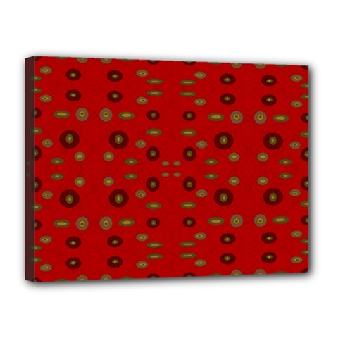 Brown Circle Pattern On Red Canvas 16  X 12  by BrightVibesDesign