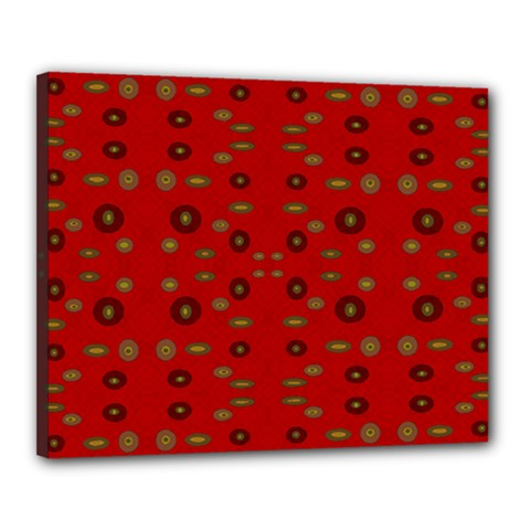 Brown Circle Pattern On Red Canvas 20  X 16  by BrightVibesDesign