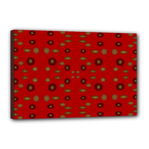 Brown Circle Pattern On Red Canvas 18  X 12  by BrightVibesDesign