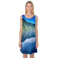 Mountain Water Landscape Nature Sleeveless Satin Nightdress by Celenk