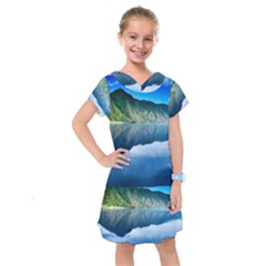 Mountain Water Landscape Nature Kids  Drop Waist Dress
