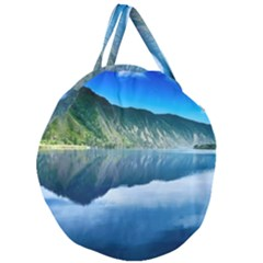 Mountain Water Landscape Nature Giant Round Zipper Tote