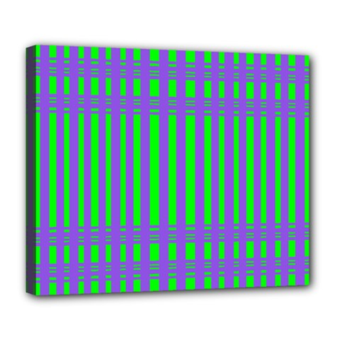 Bright Green Purple Stripes Pattern Deluxe Canvas 24  X 20   by BrightVibesDesign