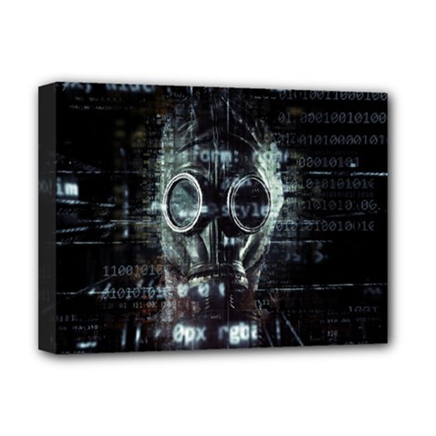 Gas Mask Contamination Contaminated Deluxe Canvas 16  X 12   by Celenk