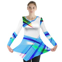 Lines Vibrations Wave Pattern Long Sleeve Tunic