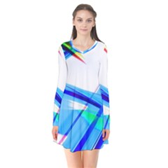 Lines Vibrations Wave Pattern Flare Dress