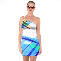 Lines Vibrations Wave Pattern One Soulder Bodycon Dress
