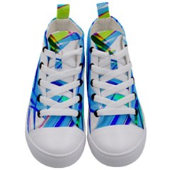Lines Vibrations Wave Pattern Kid s Mid Top Canvas Sneakers