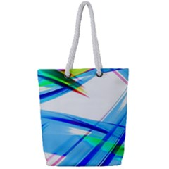 Lines Vibrations Wave Pattern Full Print Rope Handle Tote (small)