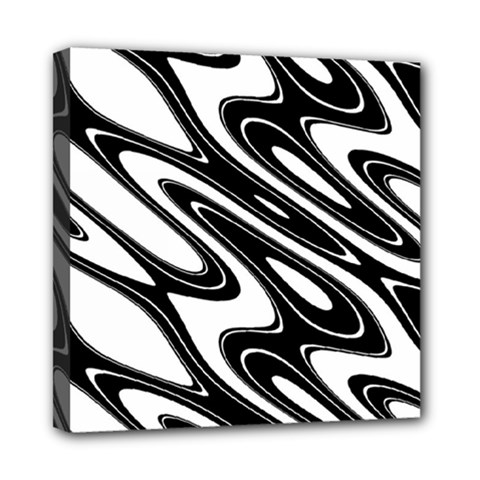 Black And White Wave Abstract Mini Canvas 8  X 8