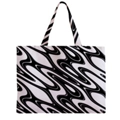 Black And White Wave Abstract Zipper Mini Tote Bag