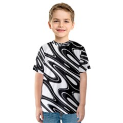 Black And White Wave Abstract Kids  Sport Mesh Tee