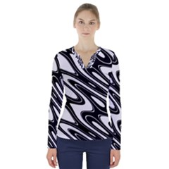 Black And White Wave Abstract V Neck Long Sleeve Top