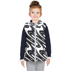 Black And White Wave Abstract Kid s Puffer Vest
