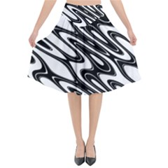 Black And White Wave Abstract Flared Midi Skirt