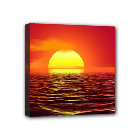 Sunset Ocean Nature Sea Landscape Mini Canvas 4  X 4
