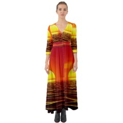 Sunset Ocean Nature Sea Landscape Button Up Boho Maxi Dress