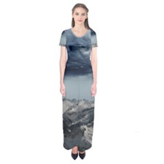 Mountain Landscape Sky Snow Short Sleeve Maxi Dress by Celenk