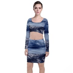 Mountain Landscape Sky Snow Long Sleeve Crop Top & Bodycon Skirt Set by Celenk