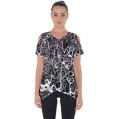 Abstract Pattern Backdrop Texture Cut Out Side Drop Tee