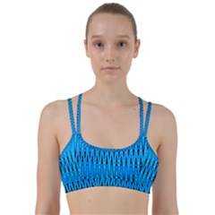 Sharp Blue And Black Wave Pattern Line Them Up Sports Bra by Celenk