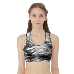 Mountains Winter Landscape Nature Sports Bra With Border