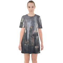 Armageddon Disaster Destruction War Sixties Short Sleeve Mini Dress