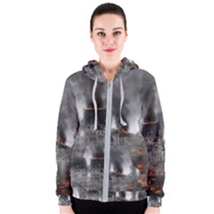 Destruction War Conflict Explosive Women s Zipper Hoodie by Celenk