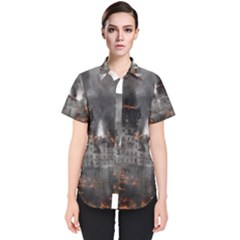 Destruction War Conflict Explosive Women s Short Sleeve Shirt