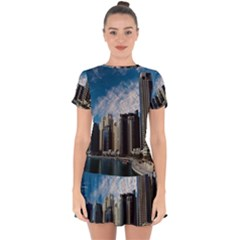 Skyscraper City Architecture Urban Drop Hem Mini Chiffon Dress by Celenk