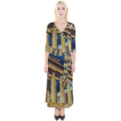 Athens Greece Ancient Architecture Quarter Sleeve Wrap Maxi Dress by Celenk