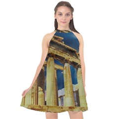 Athens Greece Ancient Architecture Halter Neckline Chiffon Dress  by Celenk