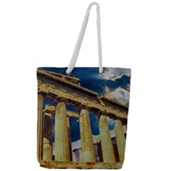 Athens Greece Ancient Architecture Full Print Rope Handle Tote (large)
