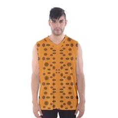 Brown Circle Pattern On Yellow Men s Basketball Tank Top