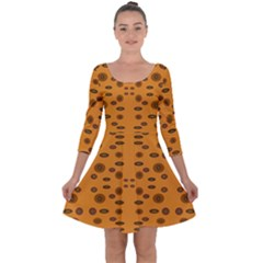 Brown Circle Pattern On Yellow Quarter Sleeve Skater Dress by BrightVibesDesign
