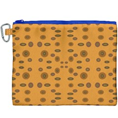 Brown Circle Pattern On Yellow Canvas Cosmetic Bag (xxxl) by BrightVibesDesign