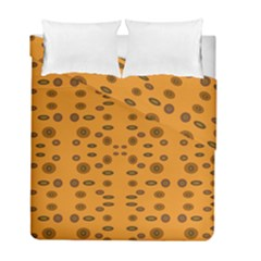 Brown Circle Pattern On Yellow Duvet Cover Double Side (full/ Double Size) by BrightVibesDesign