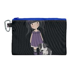 Dolly Girl And Dog Canvas Cosmetic Bag (large)
