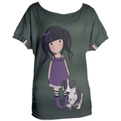 Dolly Girl And Dog Women s Oversized Tee by Valentinaart