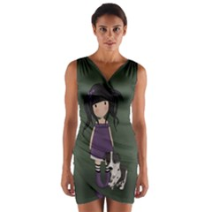 Dolly Girl And Dog Wrap Front Bodycon Dress
